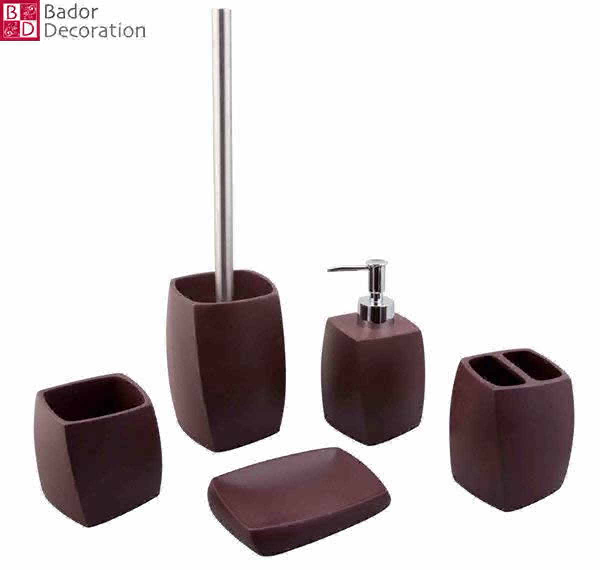 bador decoration 5 tlg bad set helios braun. Black Bedroom Furniture Sets. Home Design Ideas